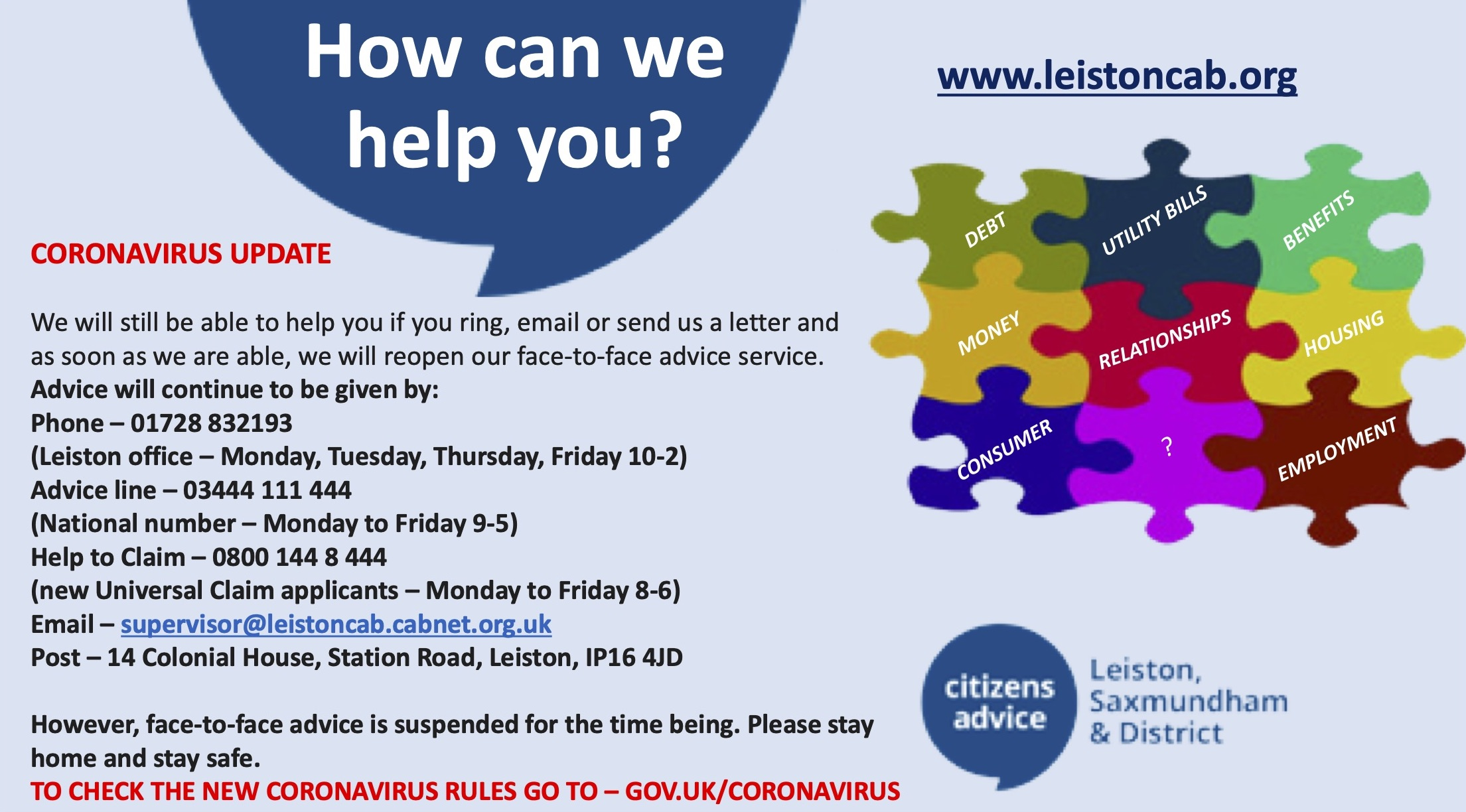 Leiston Citizens' Advice Bureau 832 193