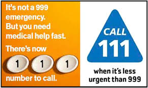 NHS Call 111 when it's less urgent than 999