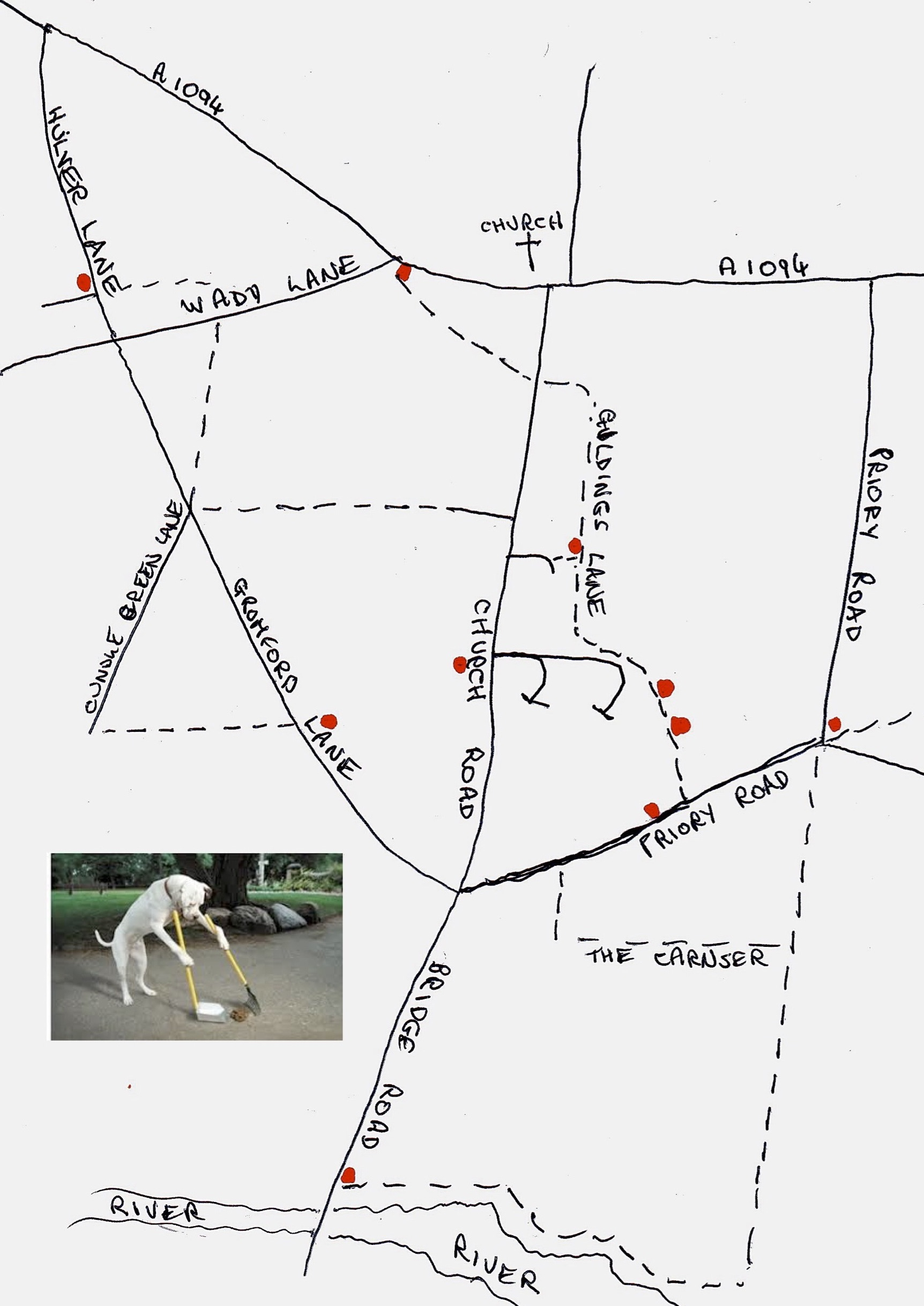map showing locations of dog-bins around Snape