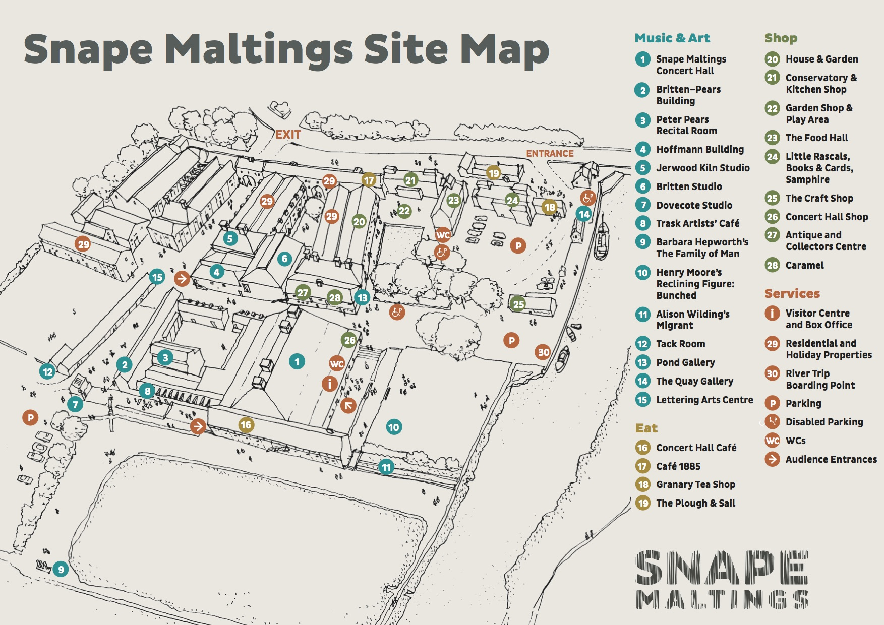 Snape Maltings site map, with numbers matching some of the locations list