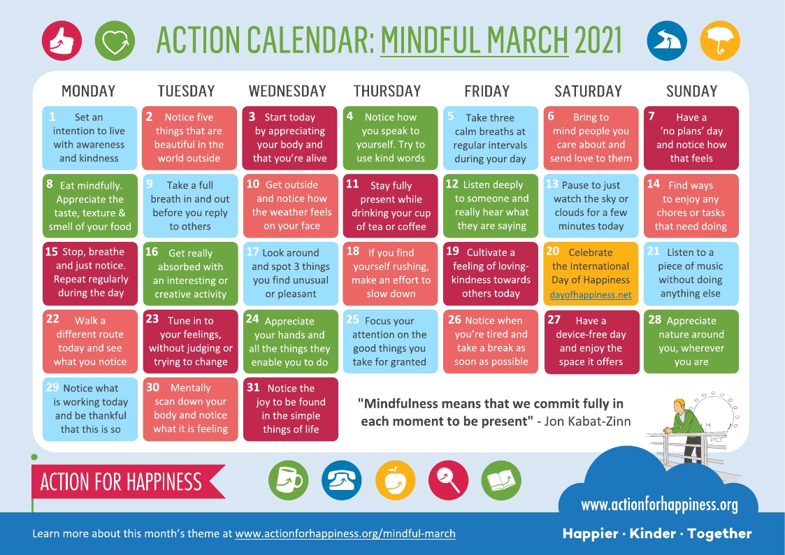 Action for Happiness: Mindful March