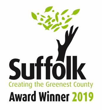 Suffolk Greenest County Award Winner 2019 logo, acting as a link to GreenSnape's main webpage